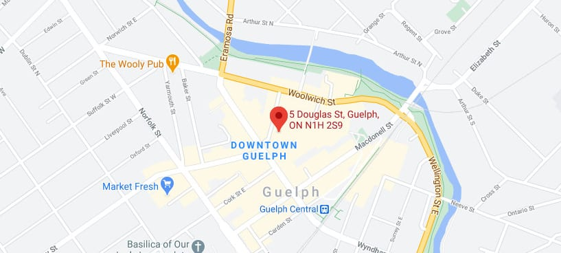 Map location of SkyDev head office at 5 Douglas St in Guelph, ON