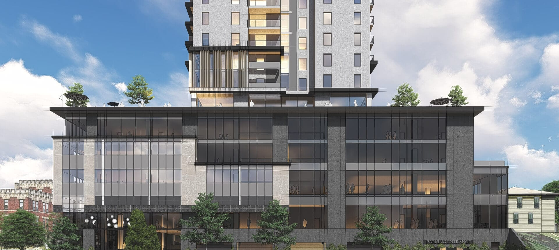 SkyDev front view rendering of 70 Fountain Street.