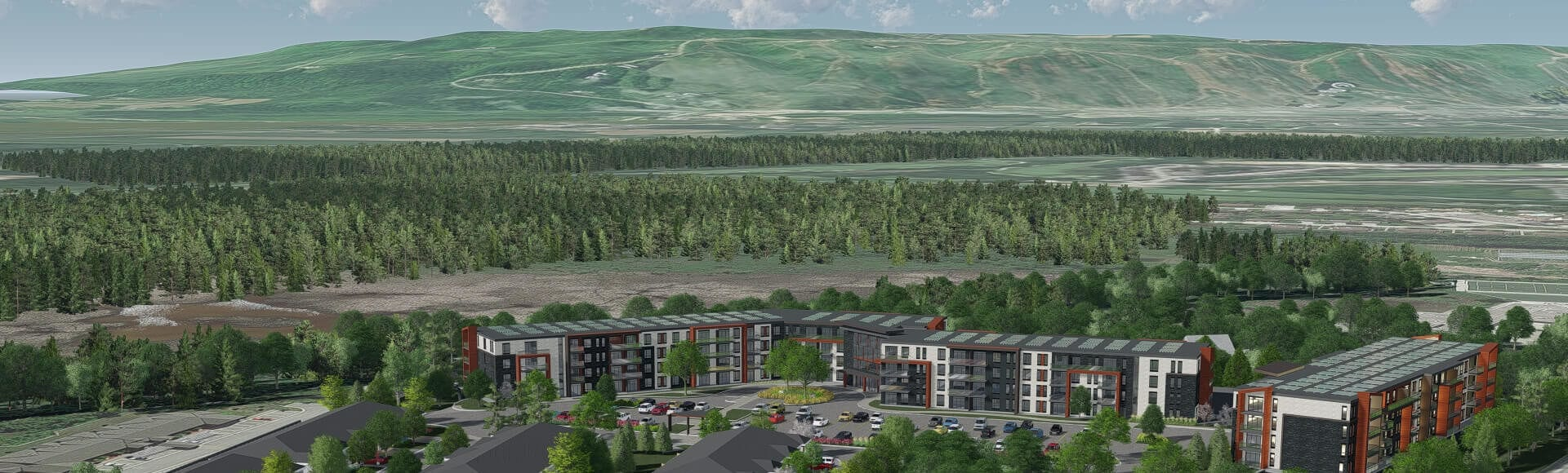 Rendering of three, four-storey apartment buildings overlooking Blue Mountain