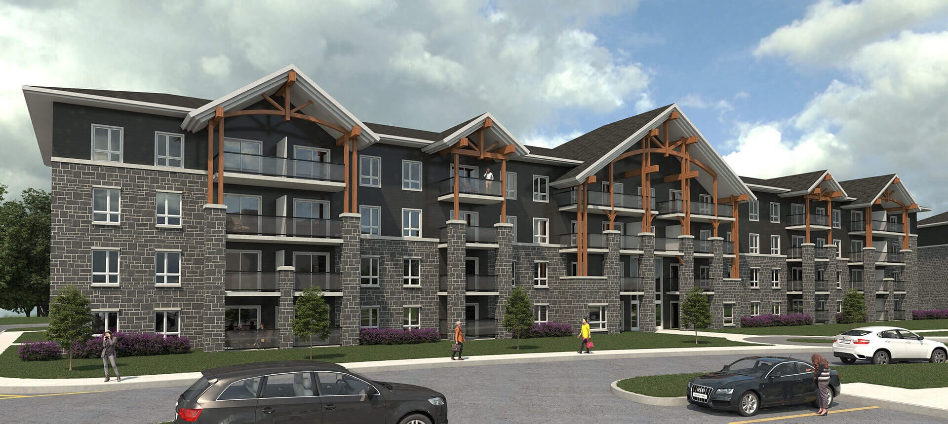 Front View and parking lot rendering of Talisman Place in Gravenhurst, Ontario