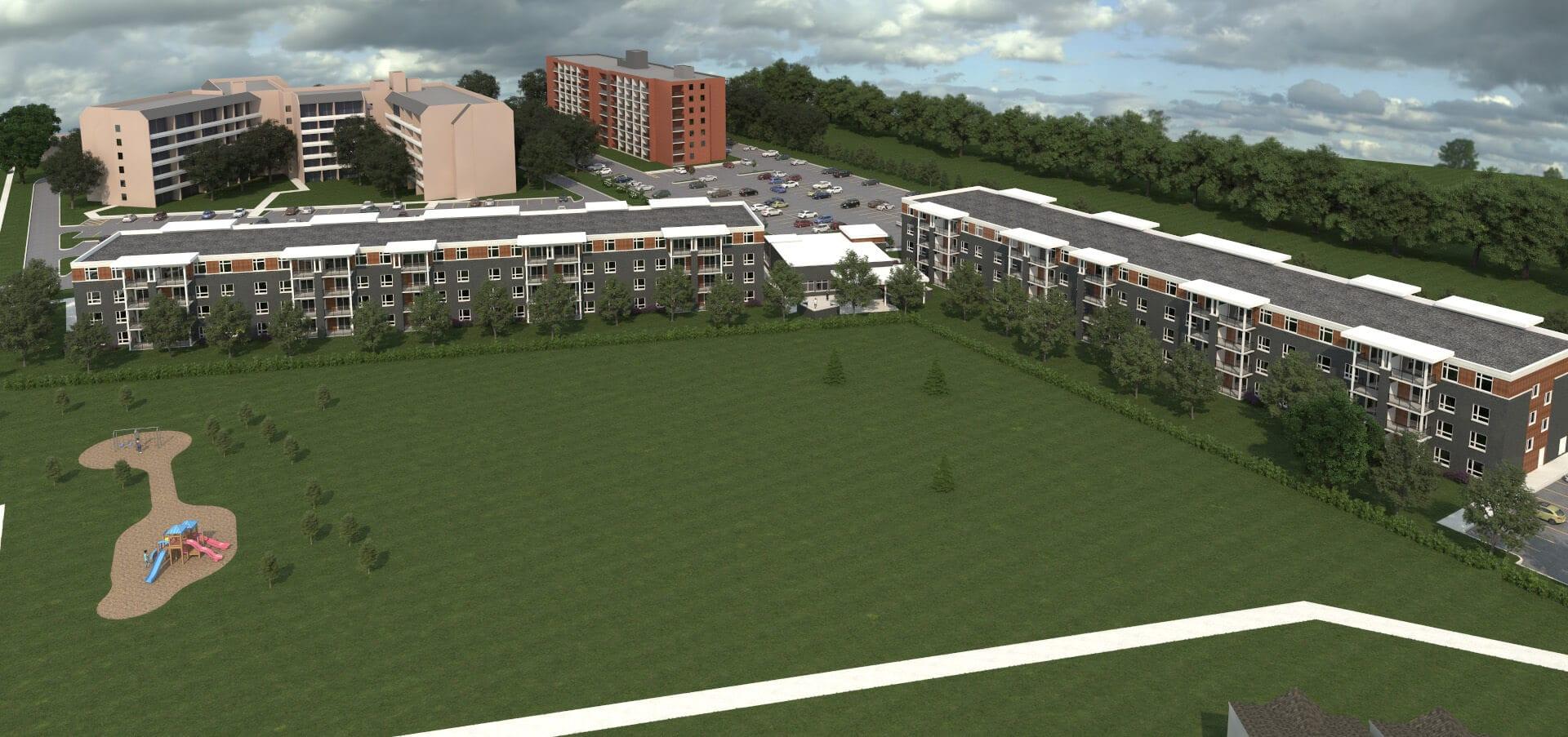 SkyDev - Southfield Park Residences, Tecumseh, Ontario Arial Rendering
