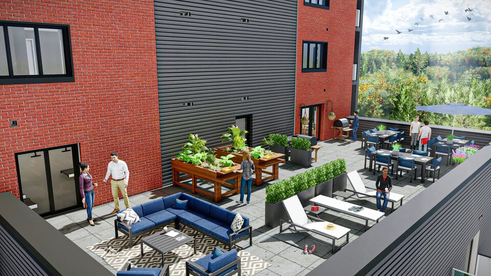 Rendering of outdoor lounge at Lancaster Park in Welland ON